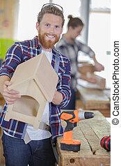 bâtiment, main bois, blocs, maison
