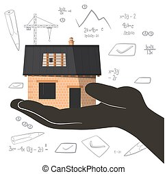 bâtiment, main., graphs., projet, vecteur, architecte, nombres, construction, résumé