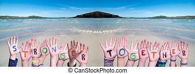 bâtiment, mains, mot, plus fort, fond, enfants, océan, ensemble