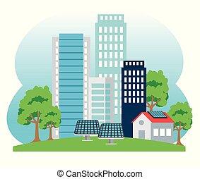 bâtiment, maison, énergie, tres, solaire