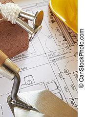 bâtiment, maison, arrangé, plans, composants
