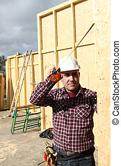 bâtiment, maison, artisan, bois
