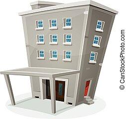 bâtiment, maison, bureaux, ou, appartements