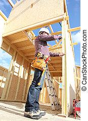 bâtiment, maison, charpentier