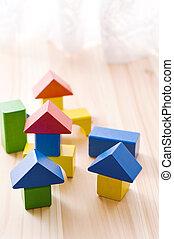 bâtiment, maison, coloré, bloc