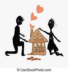 bâtiment, maison, couple
