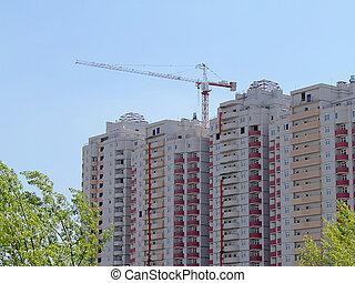 bâtiment, maison de plusieurs pièces, construction, sous, grue
