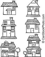 bâtiment, maison, ensemble, vecteur