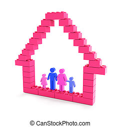 bâtiment, maison, famille