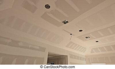 bâtiment maison, finition, nouveau, détails, intérieur, industrie, construction, drywall