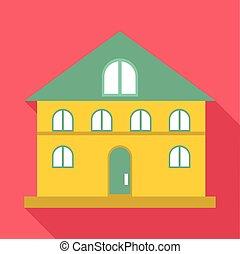 bâtiment, maison, icône, style, plat