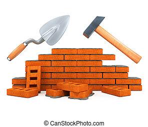 bâtiment, maison, outillage, darby, isolé, construction, marteau
