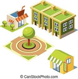bâtiment, maison, parc, icône