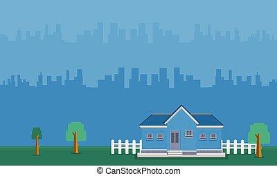 bâtiment, maison, paysage