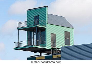 bâtiment, maison, peu, sommet, plus grand