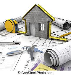 bâtiment, maison, processus