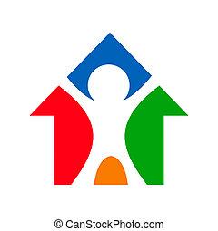 bâtiment, maison, signe