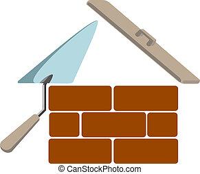 bâtiment, maison, symbole, vecteur