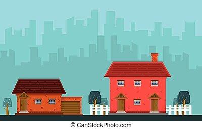 bâtiment, maison, vecteur, paysage