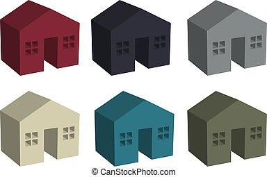 bâtiment, maisons, icône, 3d