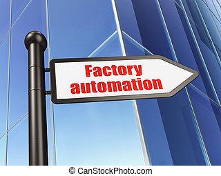 bâtiment, manufacuring, usine, signe, fond, automation, concept: