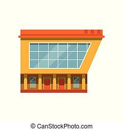 bâtiment, marché, moderne, illustration, façade, vecteur, extérieur, magasin