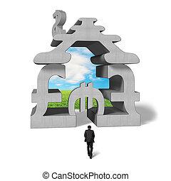 bâtiment, marche, empilé, symbole argent, pour