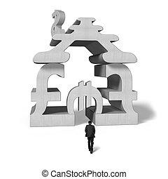 bâtiment, marche, empilement, symbole argent, béton, pour
