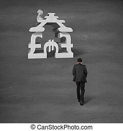 bâtiment, marche, empilement, symbole argent, homme affaires, pour