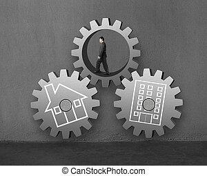 bâtiment, marche, engrenage, bureau, intérieur, il, grand, connecter, homme affaires, autres, maison, dessin