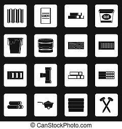 bâtiment, matériels, ensemble, Carrés, icônes