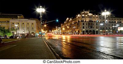 bâtiment, (metropol, centre, moscou, historique, nuit, russie, hotel)