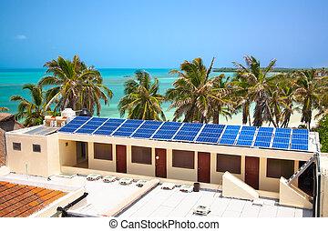 bâtiment, mexique, vue, solaire, contoy, isla, birdeye, plage, panneau