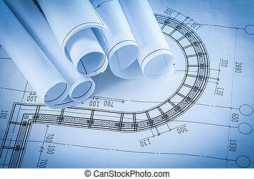 bâtiment, modèles, conce, construction, architecture, rouleaux