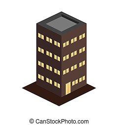 bâtiment moderne, appartements, 3d