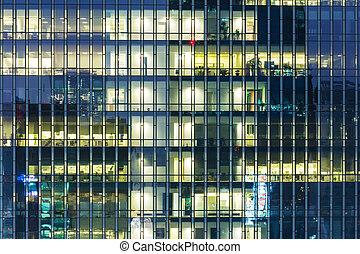 bâtiment, moderne, bureau, nuit