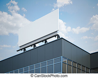 bâtiment, moderne, bureau, panneau affichage, vide