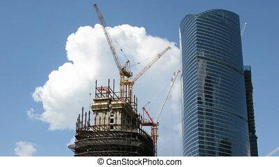 bâtiment, moderne, ciel, gratte-ciel, fond