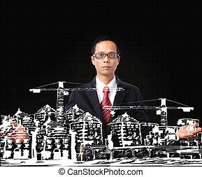 bâtiment, moderne, construction, asiatique, dessin, homme