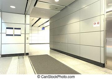 bâtiment, moderne, couloir