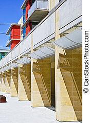 bâtiment, moderne, détails, architectural
