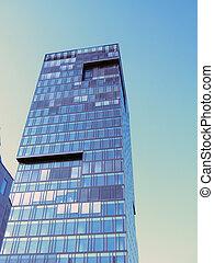 bâtiment moderne, dans, ville