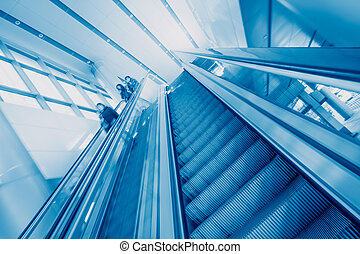 bâtiment, moderne, escalator, bureau
