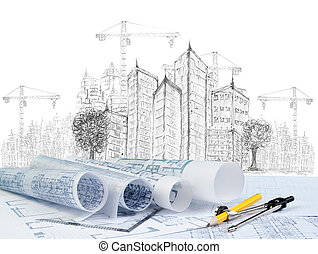 bâtiment, moderne, esquisser, construction, plan, document