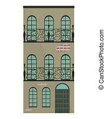 bâtiment, moderne, illustration, vecteur, architecture, façade