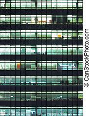 bâtiment, moderne, nuit