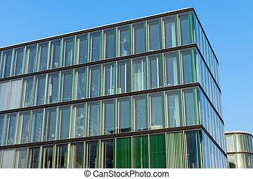 bâtiment, moderne, vert, bureau