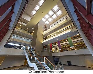 bâtiment, moderne, vestibule, bureau