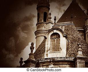 bâtiment, modifié tonalité, ancien, ajouté, sky., effect., image, sépia, paris, contre, france, dramatique, grain, nuageux, a, pellicule