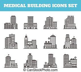 bâtiment, monde médical, noir